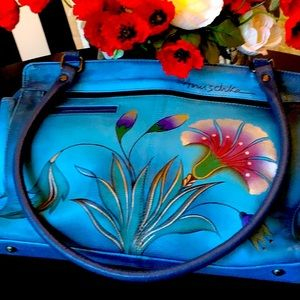 ANUSCHKE BLUE WITH FLOWERS ZIP LEATHER  BAG
